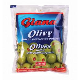 Olivy zelené s papričkou sáček 195g