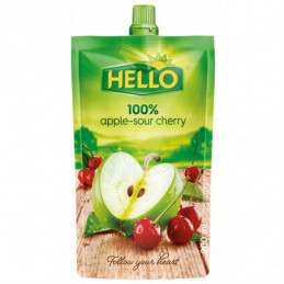 Džus Hello 100% jablko - višeň 200 ml kapsička